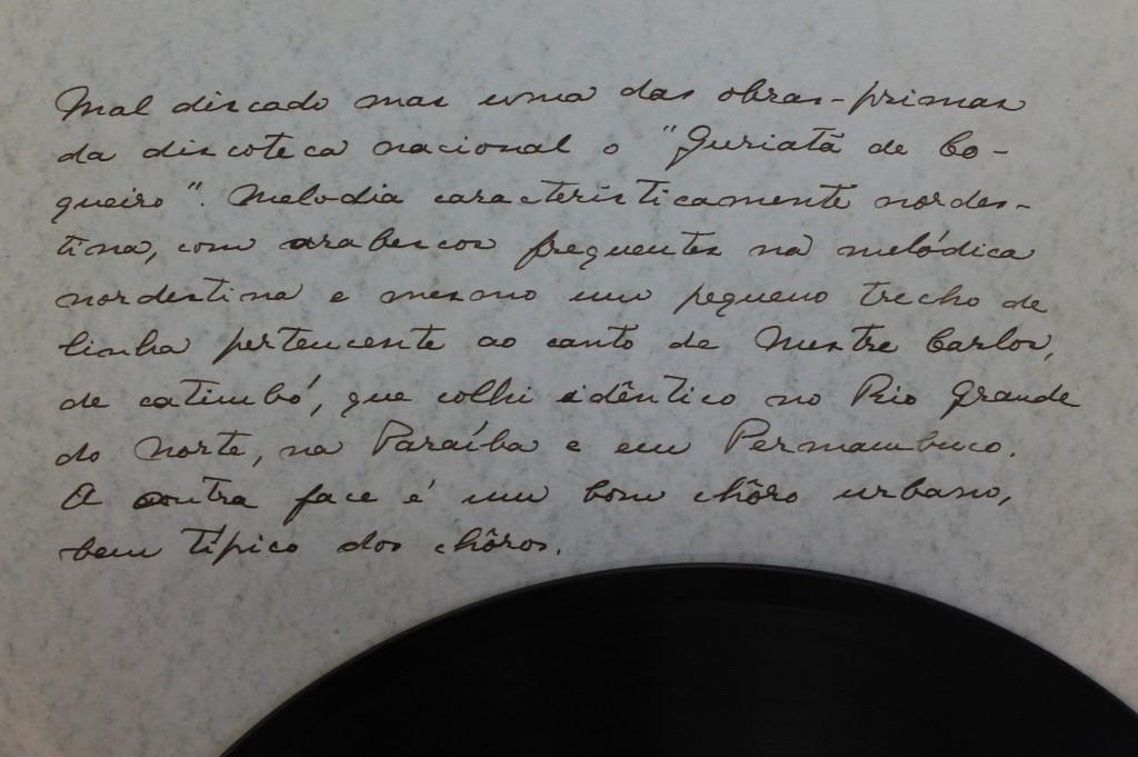 manuscrito de Mário de Andrade no encarte do disco - Acervo IEB/USP - Fundo Mário de Andrade